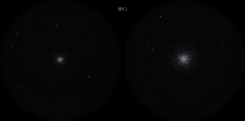 Мессье 13. Вид в телескоп