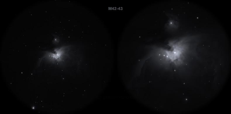 Мессье 42-43. Вид в телескоп