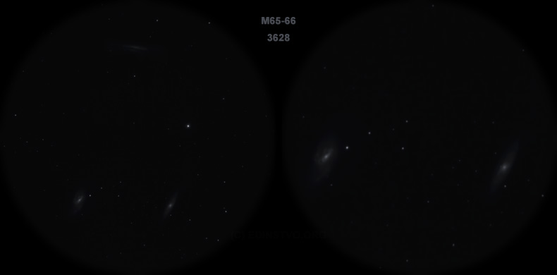 Мессье 65-66. Вид в телескоп