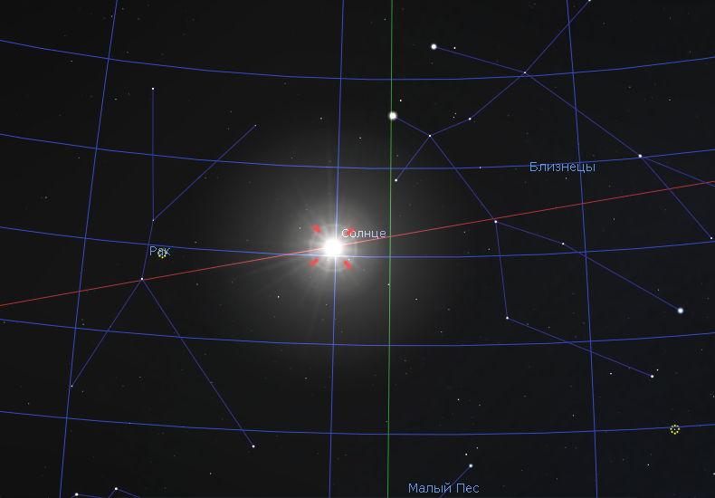 Солнце в 2017 году в летнее солнцестояние