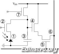 Эквивалентная схема ячейки КМОП-матрицы