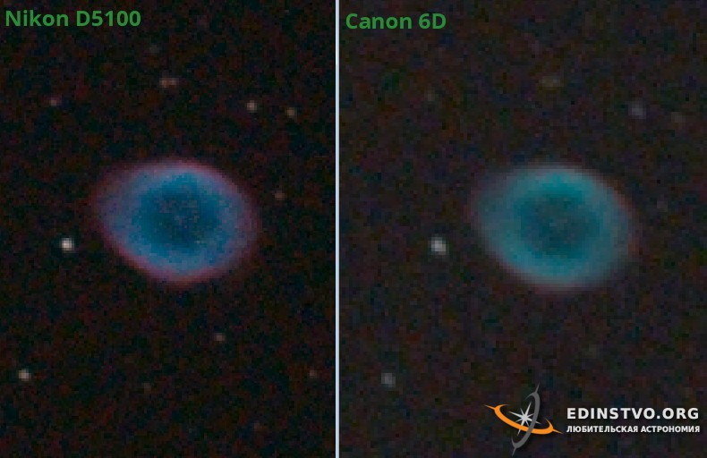 Сравнение цветов по M57 в Лире