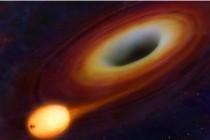 Черная дыра засасывает звезду